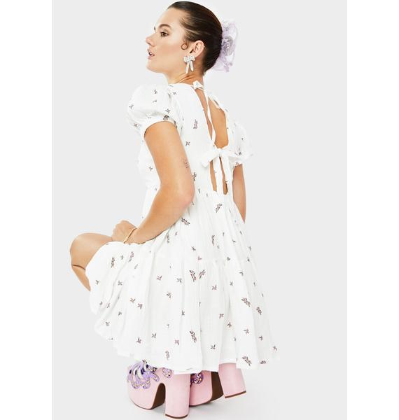 Daisy Street Ivory Floral Print Smock Dress