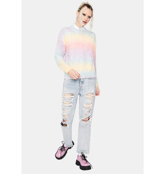 Rainbow Lover Girl Ombre Striped Sweater