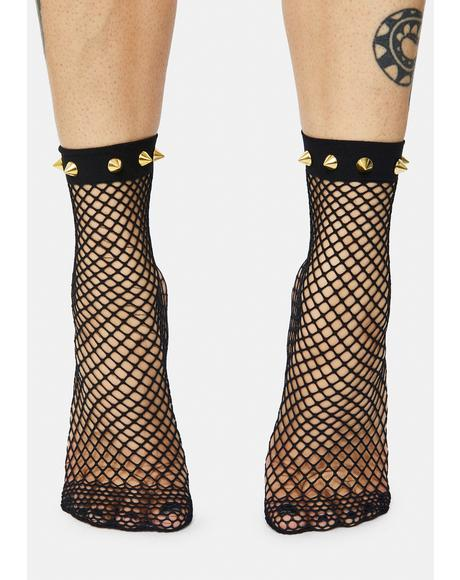 Ain't Really You Mesh Circle Studded Socks