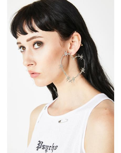 Barbwire Heart Hoop Earrings