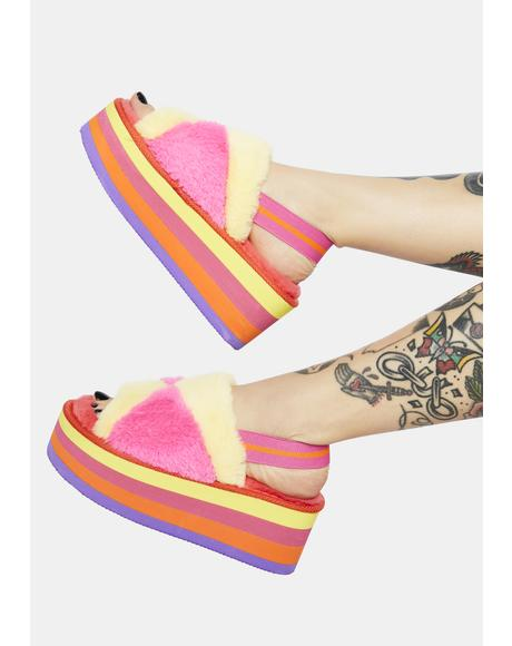 Sorbet Cotton Candy Dreams Fuzzy Platform Sandals