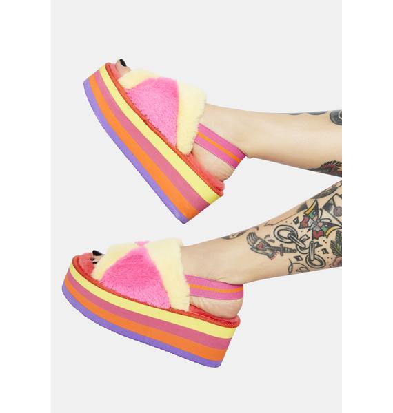 Sorbet Cotton Candy Dreams Fuzzy Platform Sandals