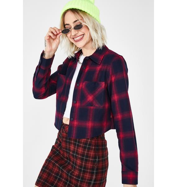 Dickies Girl Hot Crop Flannel Shirt