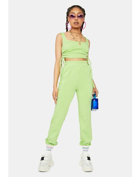 Kush Catch My Breath Crop Top And Jogger Set