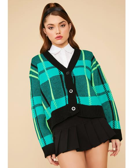 Emerald Moonlight Plaid Knit Button Up Cardigan