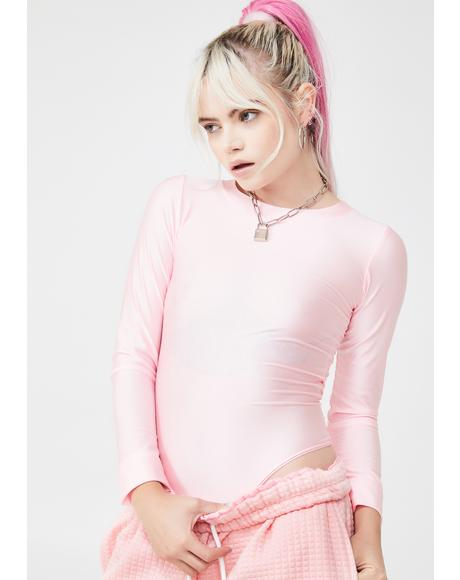Pink Spandex Crew Neck Bodysuit