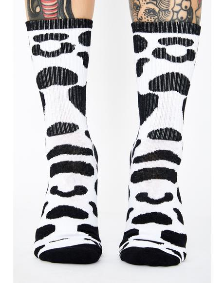 Daily Moo'd Crew Socks