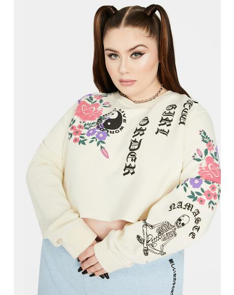Curve Floral Cropped Crewneck Sweatshirt