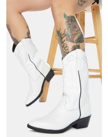 Indio White Vintage Leather Cowboy Boots