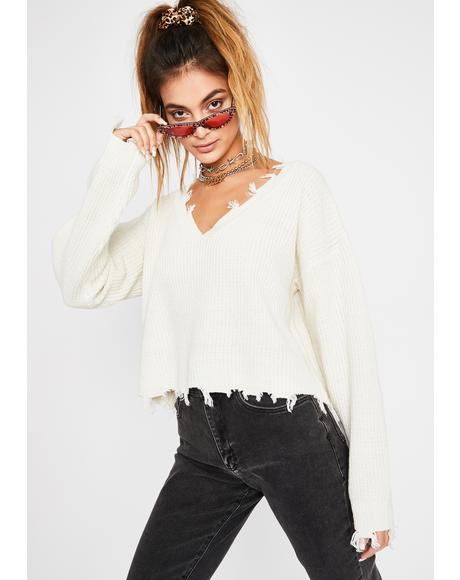 Cream Missed Class Distressed Sweater