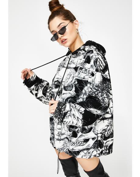 Skull Print Oversized Fleece Hoodie