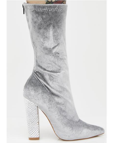 Slate Her Majesty Velvet Boots