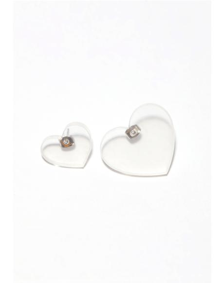 Clear Honeymoon Heart Earrings
