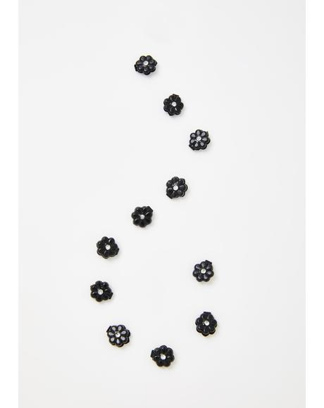 Black Mini Flower Hair Clips