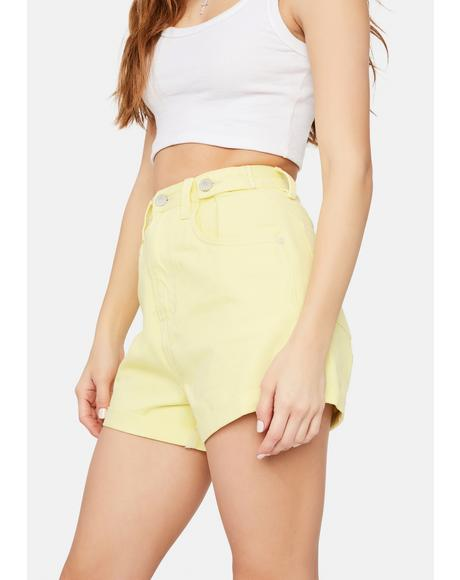 Lemon Sorbet Hi & Loose Denim Shorts