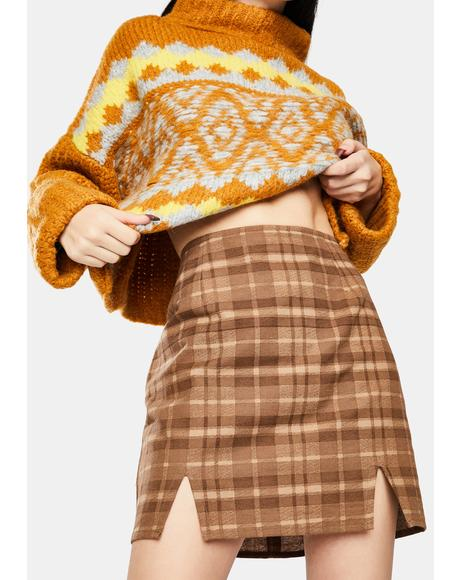 Brown Check Zila Mini Skirt