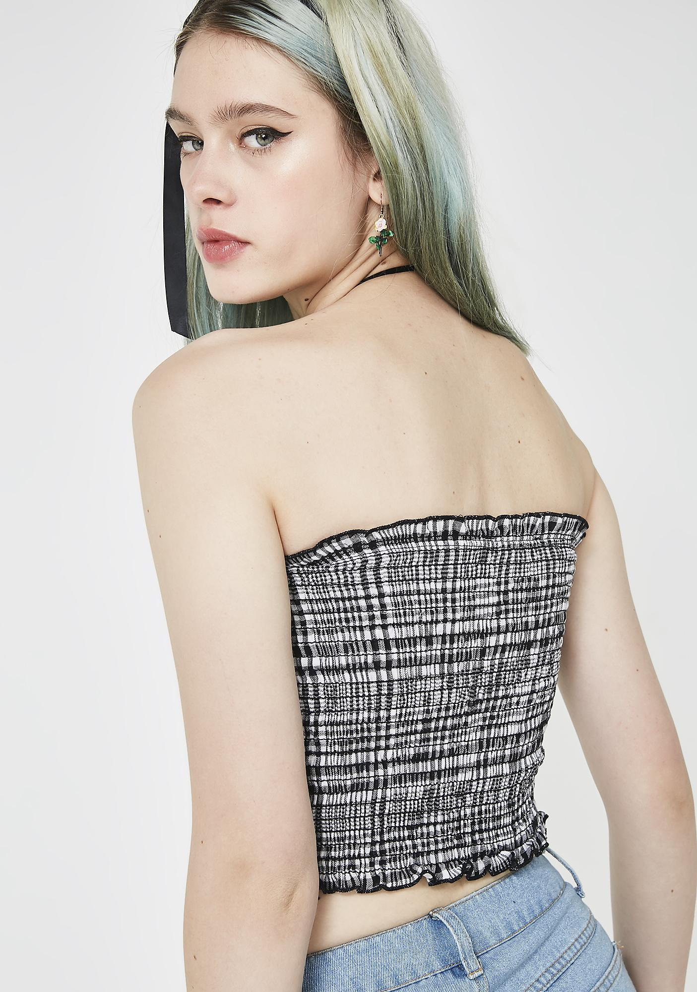 Night Never On Time Plaid Tube Top