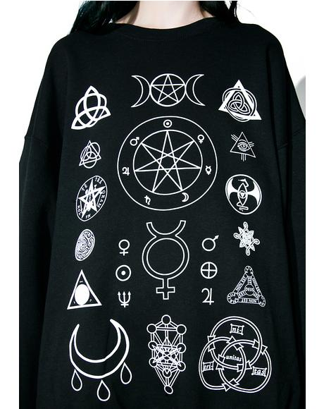 Witch Symbols Oversize Sweatshirt