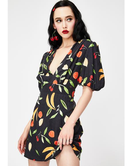 Black Fruitbowl Calypso Mini Dress