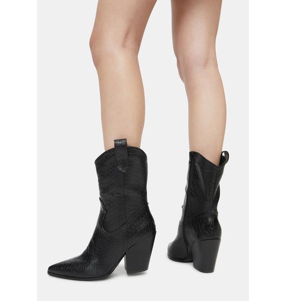 Noir Ring the Bells Cowboy Boots
