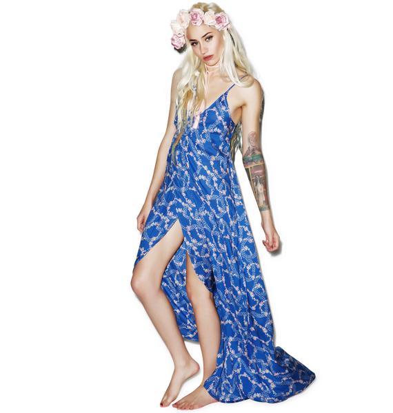 Wildfox Couture Starry Blue Floral Atlantis Wrap Dress