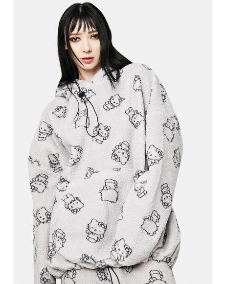 Grey Hello Kitty Printed Fleece Hoodie