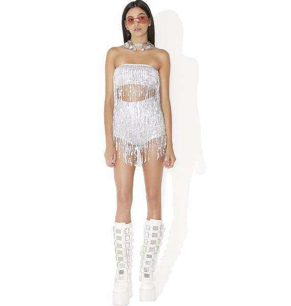 Jaded London Sequin Fringe Crop Top