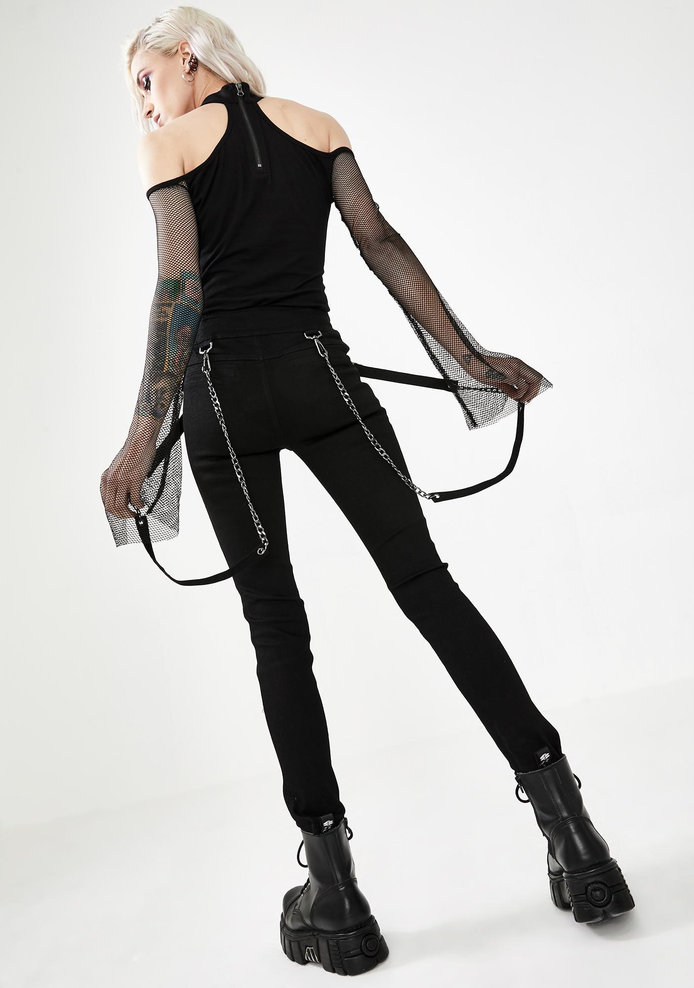 Punk Rave High Waisted Suspender Pants