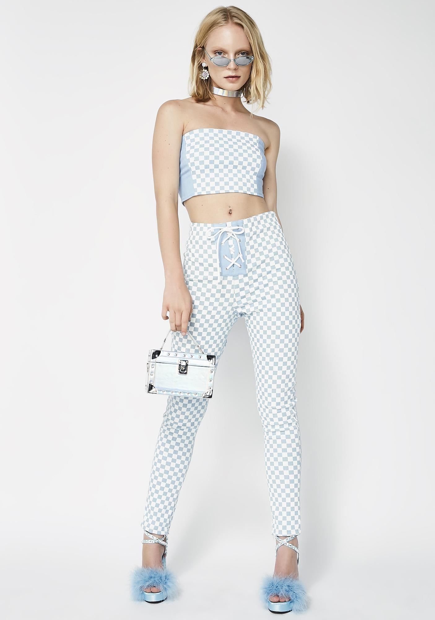 Hardware LDN Denim Checkered Boob Tube