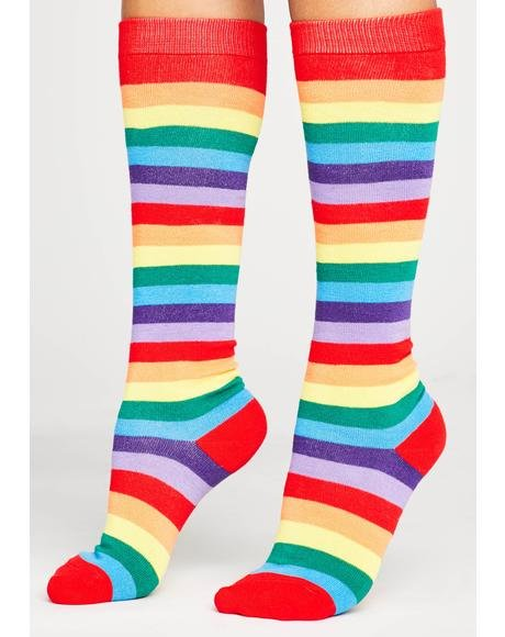 Rainbow Connections Striped Socks