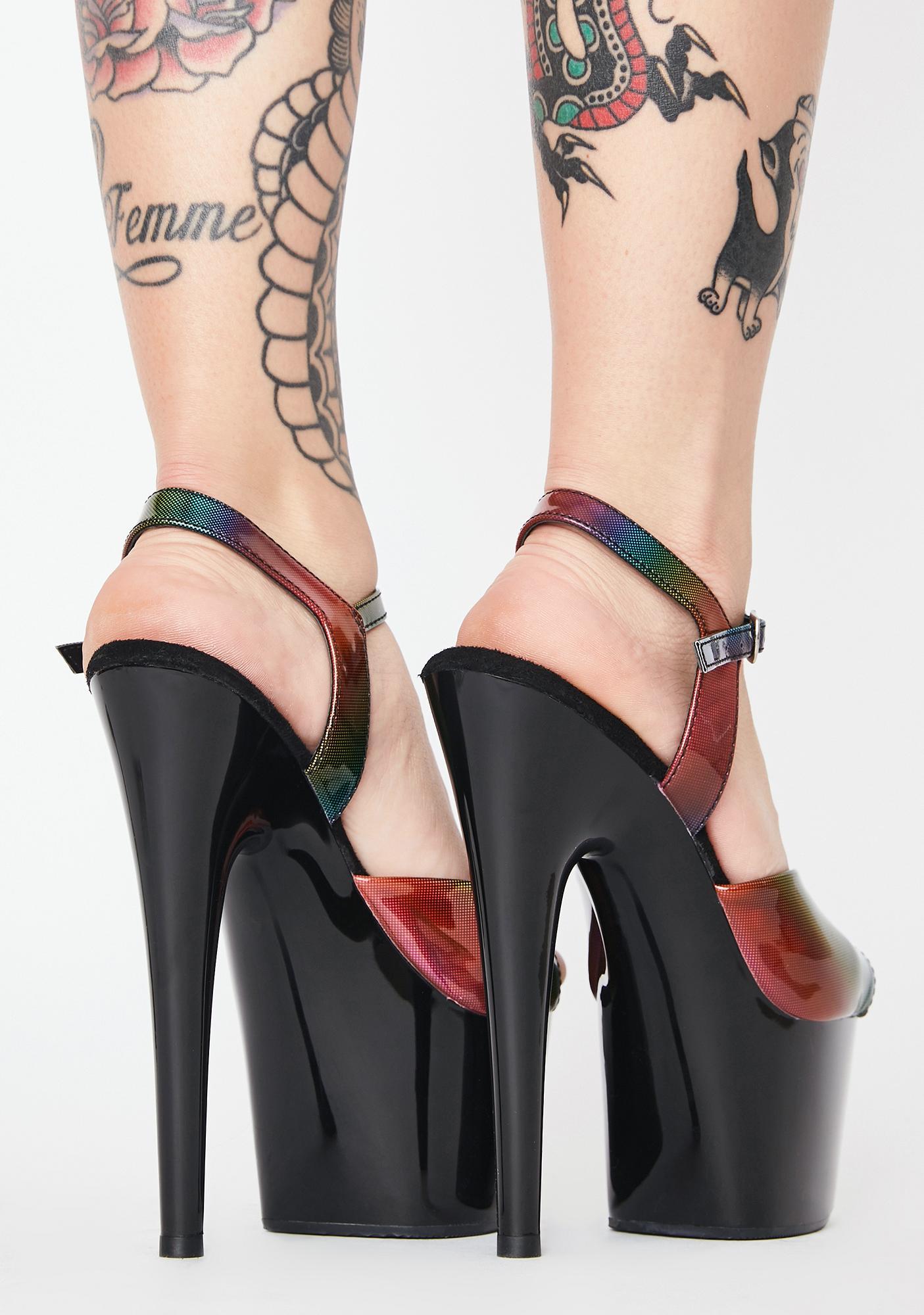 Pleaser Funky Kat Stacks Adore Platform Heels