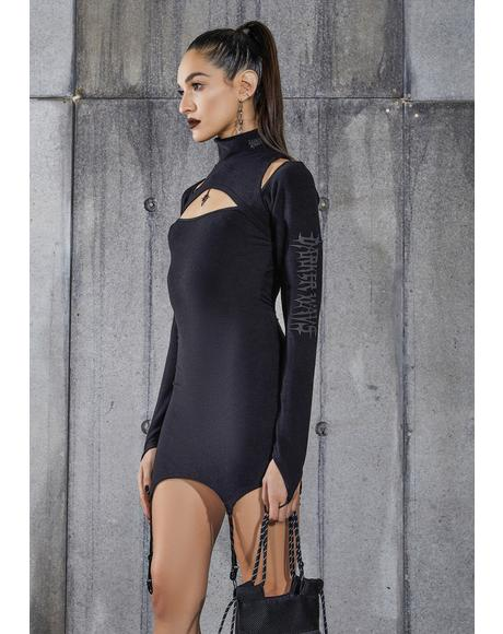 Snare Cut-Out Garter Dress With Logo Charm