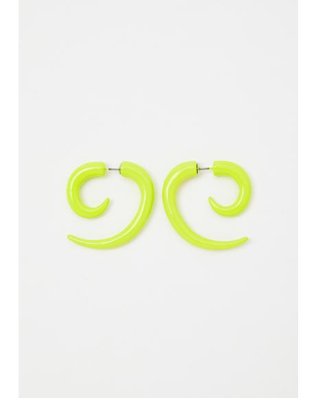 Sour Chaotic Night Spiral Earrings