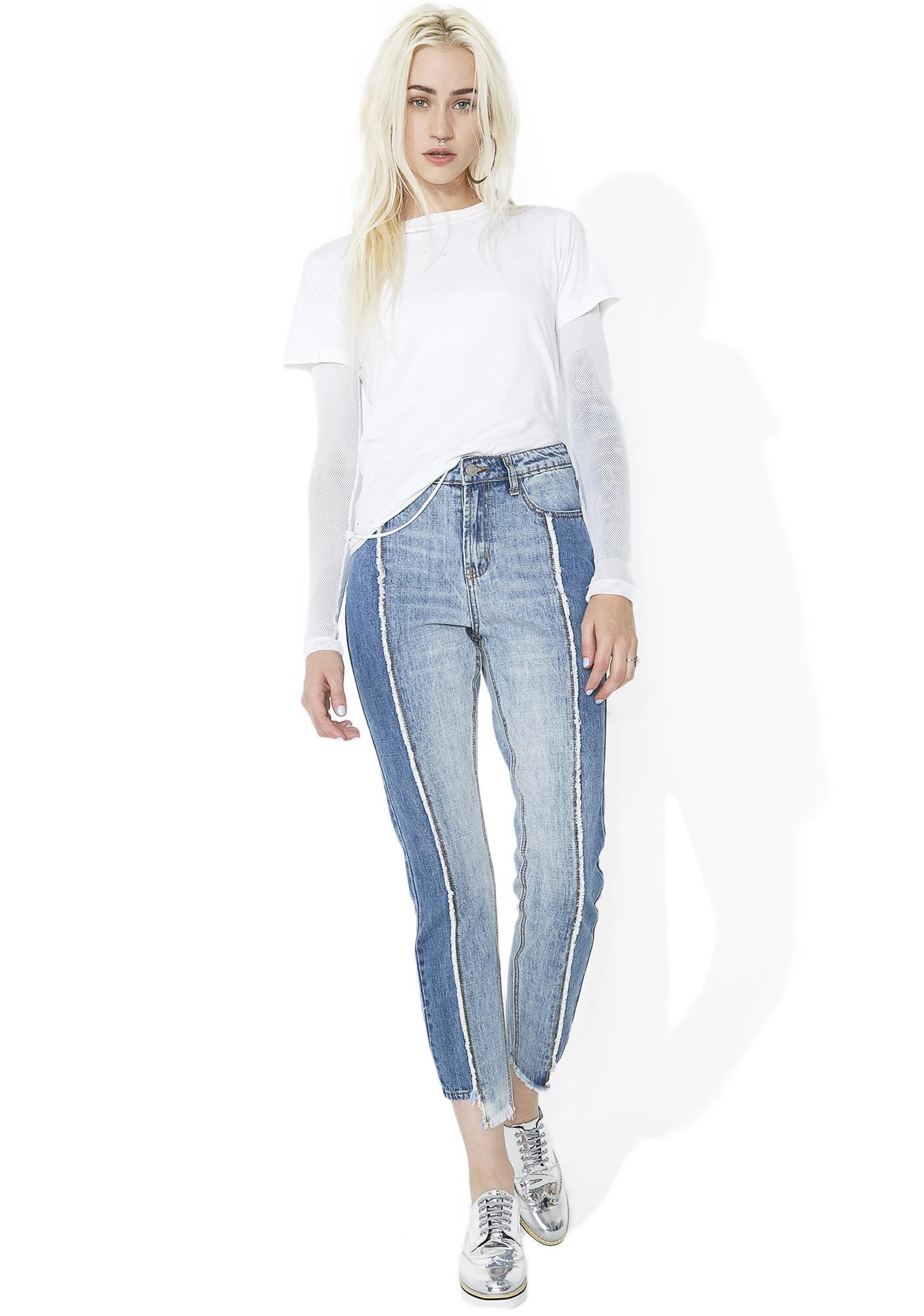 Glamorous Split Personality Paneled Jeans