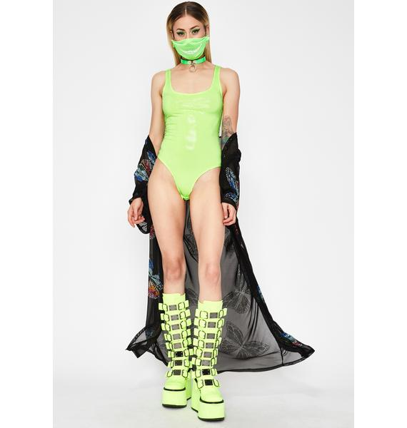 Slime Neon Butterfly Sequin Bodysuit