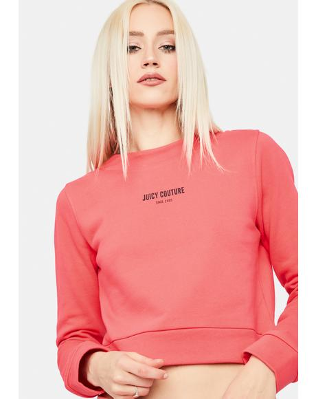 Bombshell Pink French Terry Long Sleeve Top