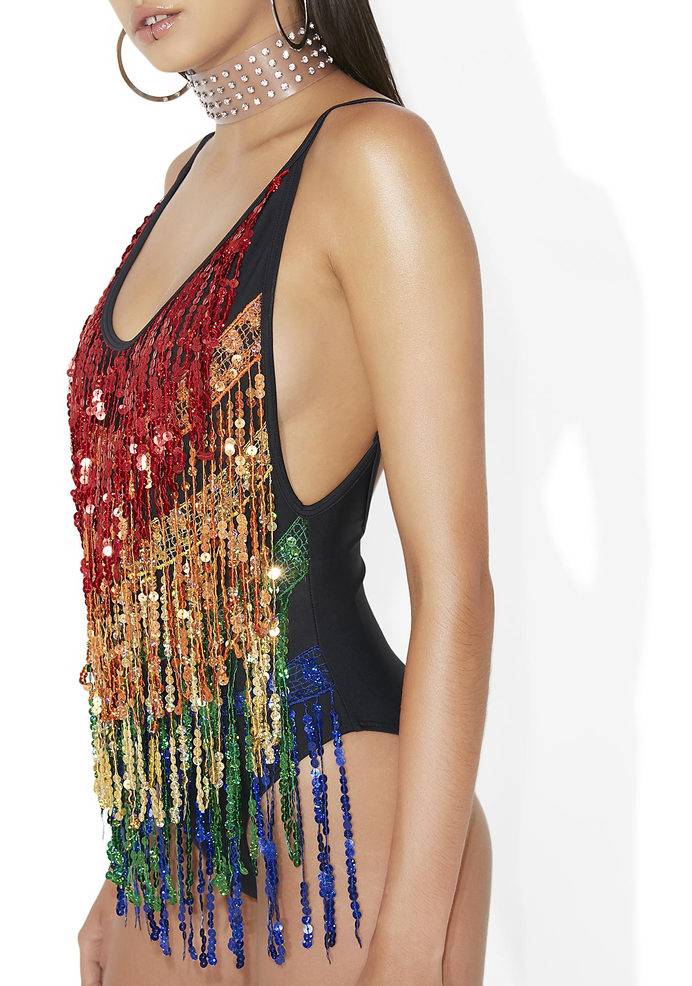 Jaded London Rainbow Fringe Sequin Plunge Swimsuit