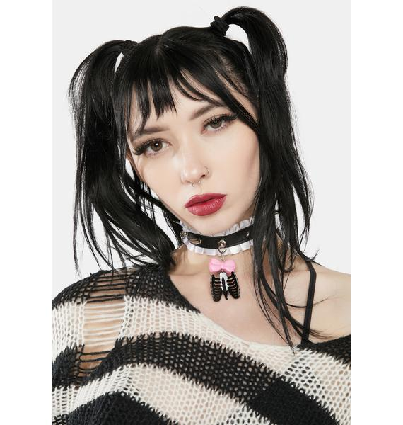 Sweetest Poison Frilly Studded Spider Choker
