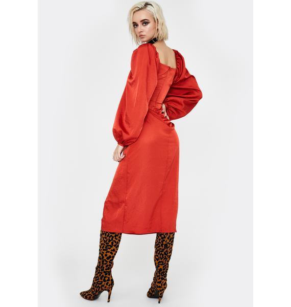 Glamorous Rust Puff Sleeve Midi Dress