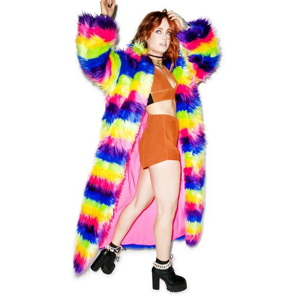 J Valentine Taste The Rainbow Full Length Rainbow Coat