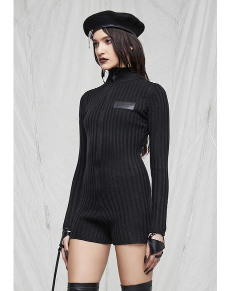 Synth Zip-Up Sweater Romper