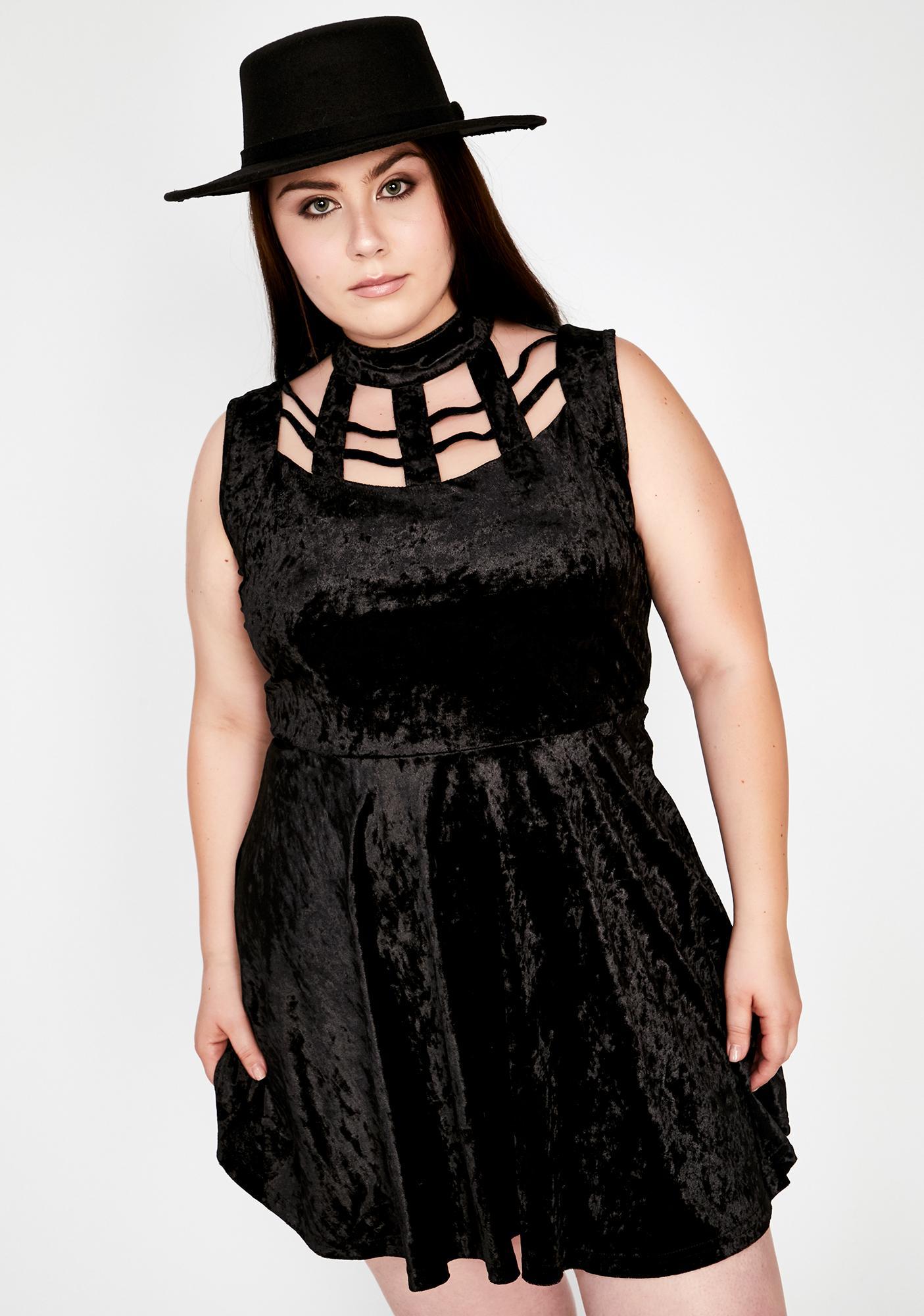 Jawbreaker Plus Velveteen Dream Cage Neck Mini Dress