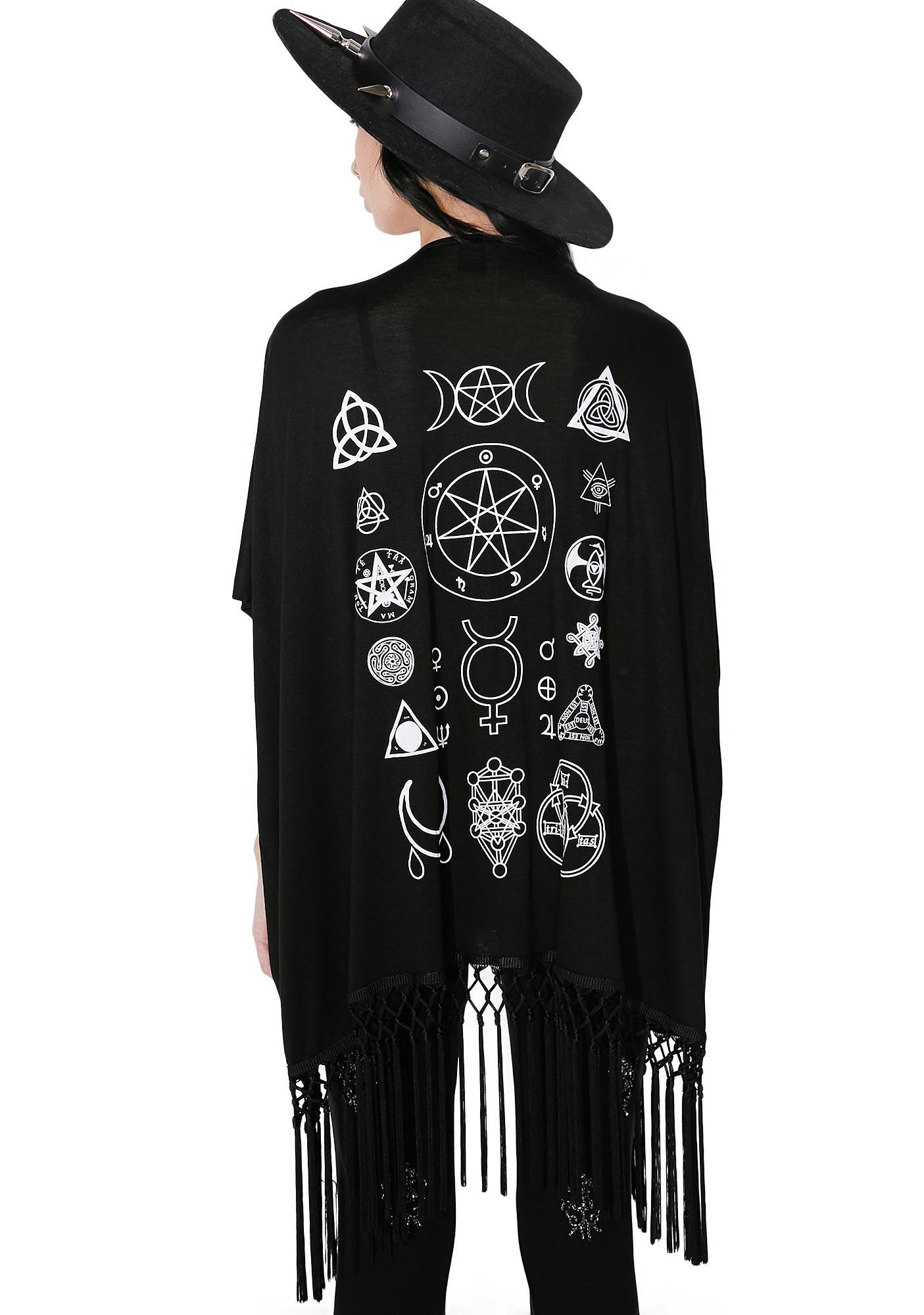 Witch Worldwide Moon & Stars Fringe Kimono