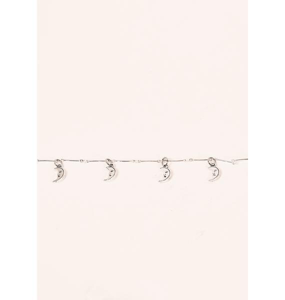 Desert Moon Silver Moon Charm Necklace
