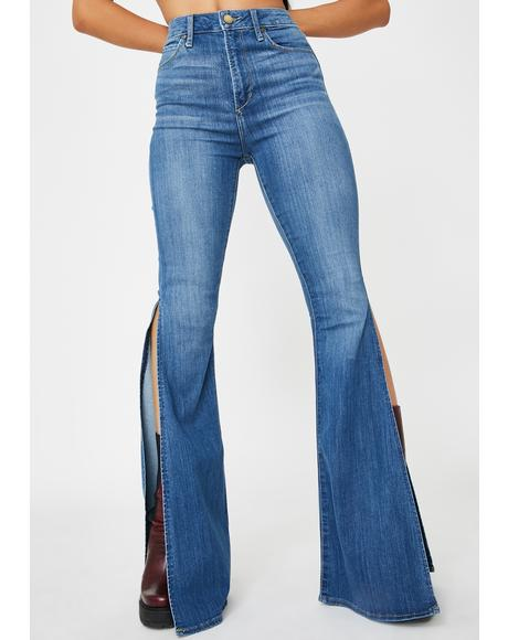 Bridgette Flare Split Hem Denim Jeans