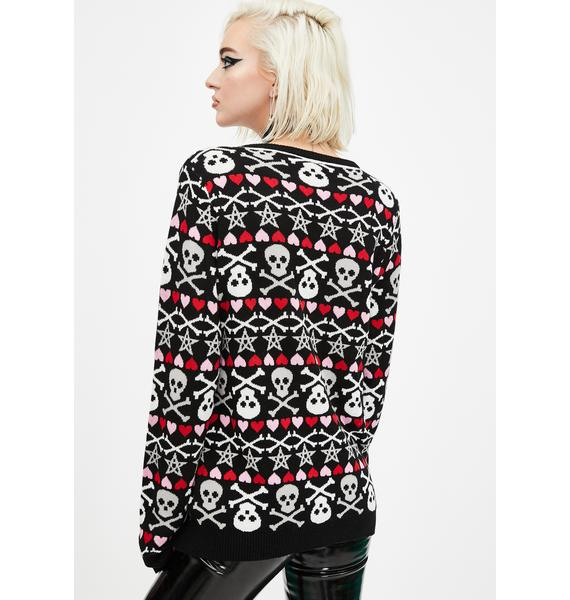 Too Fast Hearts Stars And Skulls Christmas Sweater