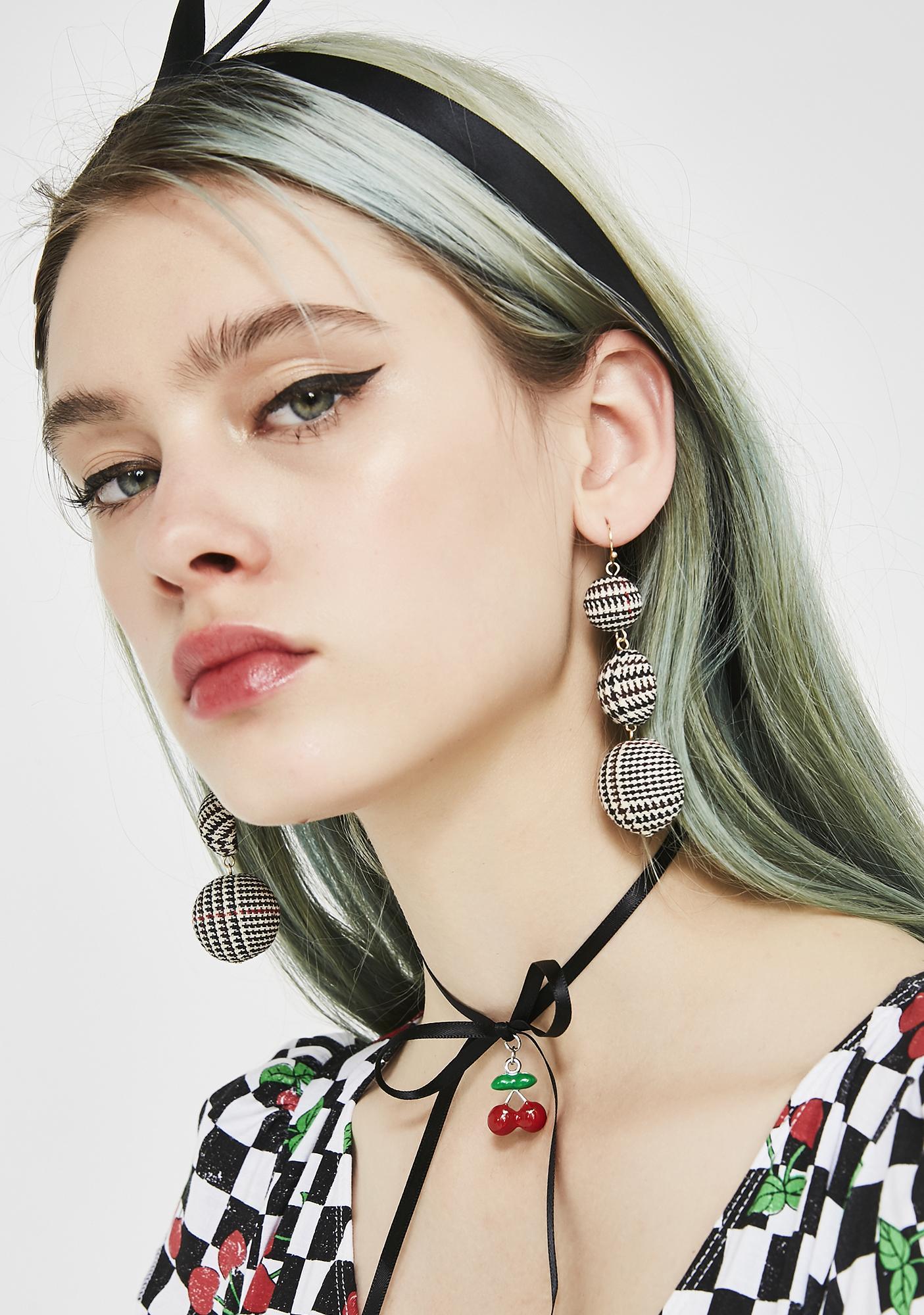 Very Proper Houndstooth Earrings