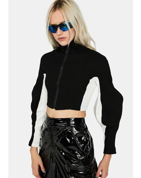 Noir Undercover BB Contrast Mock Zip Up Top