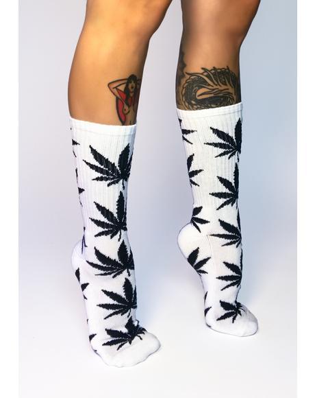White Plantlife Crew Socks