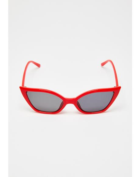 Red Hot Cat-Eye Sunglasses